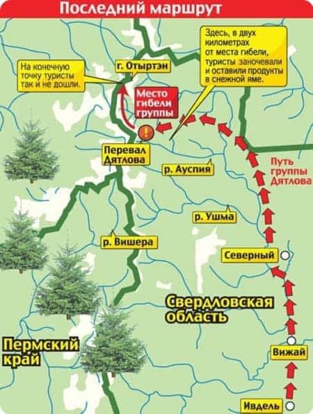 Это карта похода группы туристов на гору Отортен через перевал, который позже назовут Перевал Дятлова.