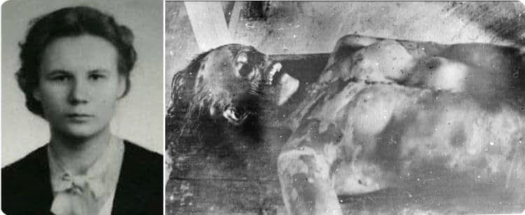 Тело Люды Дубининой, наиболее пострадавшего члена группы.