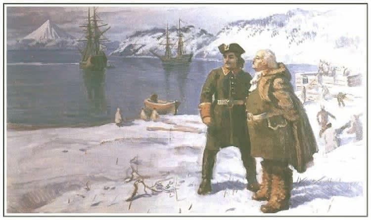 Здесь, в только открытой Авачинской бухте возникнет город Петропавловск-Камчатский.